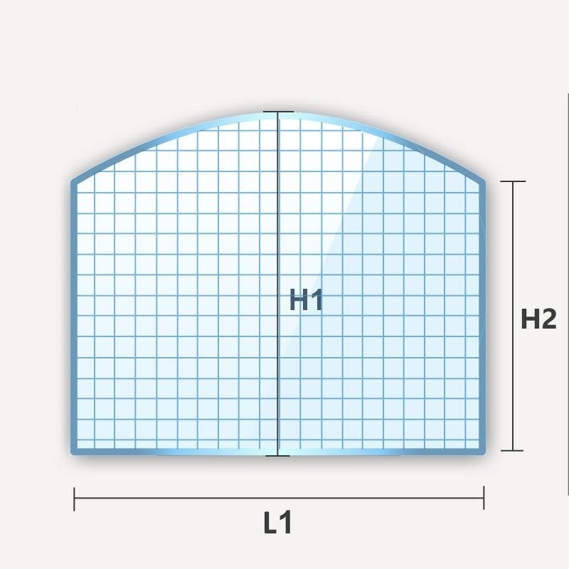 Verre armé en arche haut rectangle cintré avec un coté arrondi