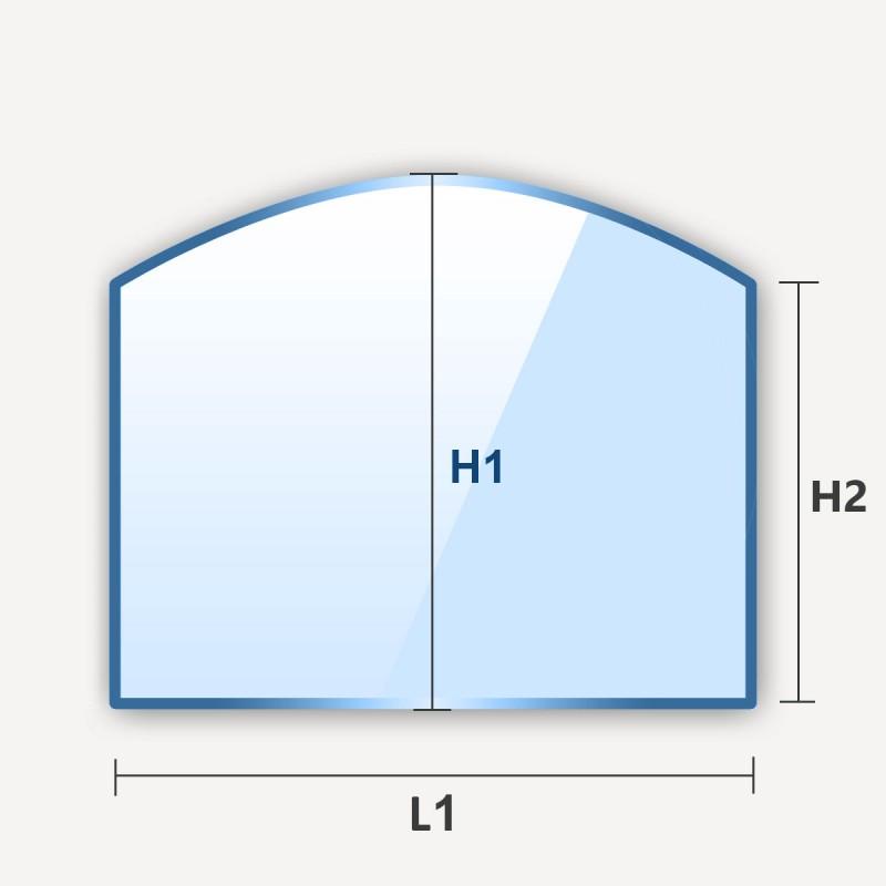 Miroir en arche haut rectangle cintre avec un cote arrondi