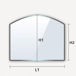 Verre trempé en arche haut rectangle cintré avec un cote arrondi
