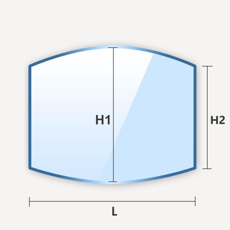 Miroir en arche haut et bas rectangle cintré sur 2 cotes arrondis