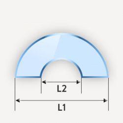 Miroir en demi-cercle avec encoche