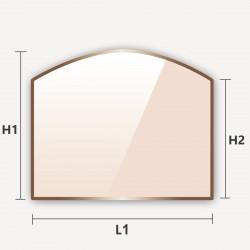 Verre vitrocéramique rectangle arrondi en haut découpe sur mesure