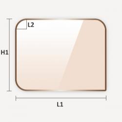 Découpe sur mesure de verre vitrocéramique rectangulaire à coins arrondis