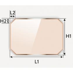 Verre vitrocéramique rectangulaire à coins coupés