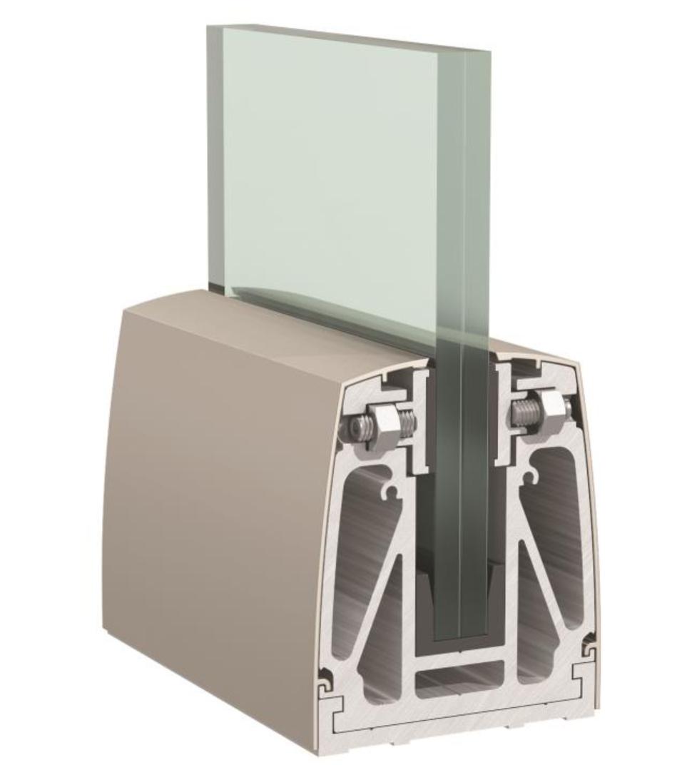 Kit de fixation pour garde-corps lg 1500 mm, pose sur dalle verre 88.4 17.52mm