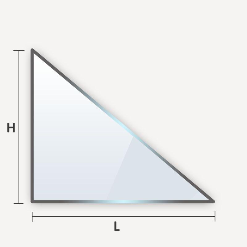 Verre trempé en triangle rectangle