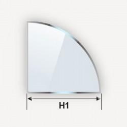 Etagère d'angle en verre trempé Securit en forme de quart de cercle