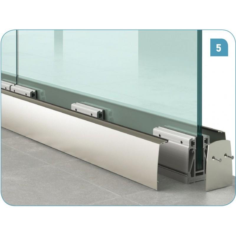 Kit de fixation pour garde-corps longueur 3m pour verre de 17.52mm (88.4)
