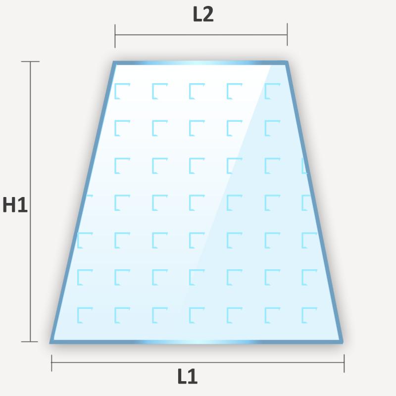 Verre plat décoratif en forme de trapèze