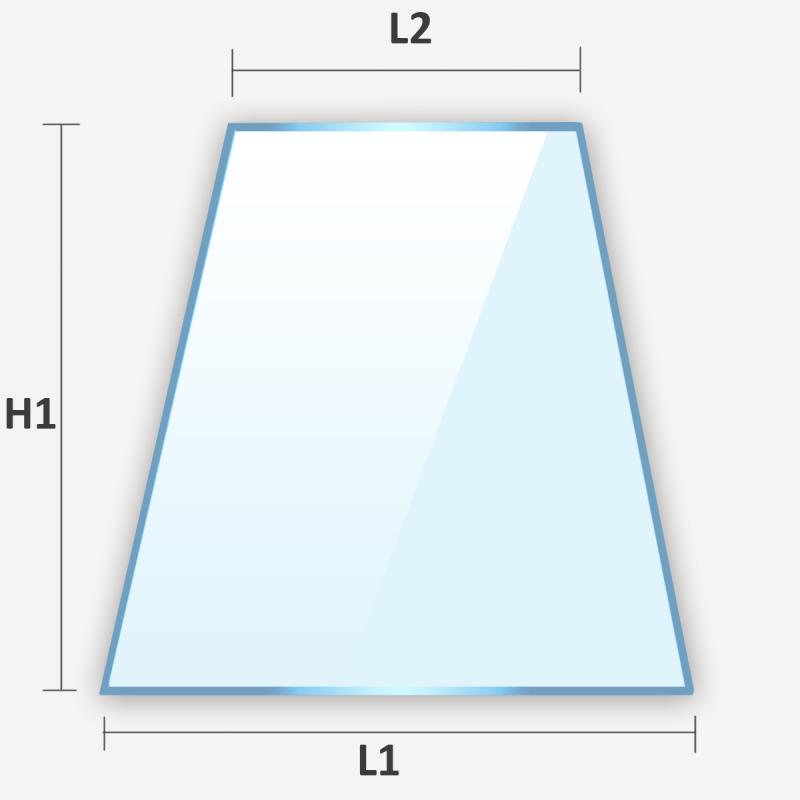 Verre plat en forme de trapèze