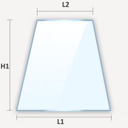 Verre plat dépoli effet givré en forme de trapèze