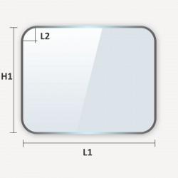 verre trempé rectangulaire à coins arrondis
