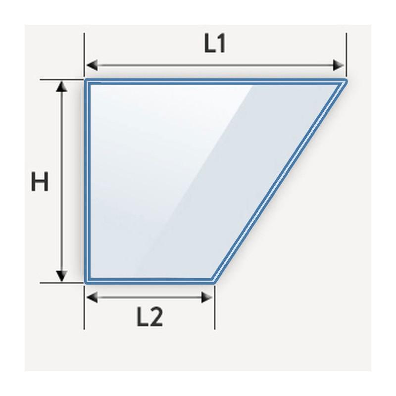 verre feuilleté coupé en biais