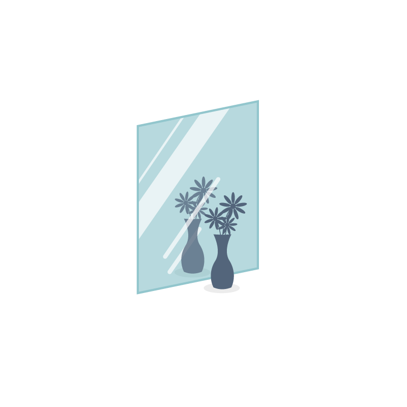 Miroir carré à recouper à vos dimensions épaisseur 4mm, 625 x625mm