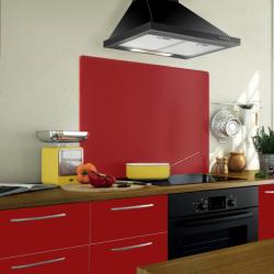Crédence rouge sur mesure en verre trempé pour la cuisine, le fond de hotte et les plaques de cuisson