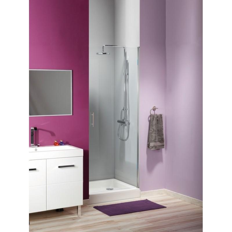 Porte de douche en verre sur mesure avec charnière et profilé pivotant
