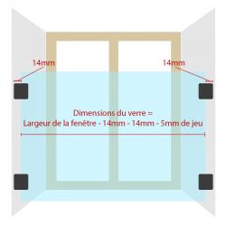 schéma pour les dimensions du verre, mesurer la largeur de la fenêtre et enlever 33mm