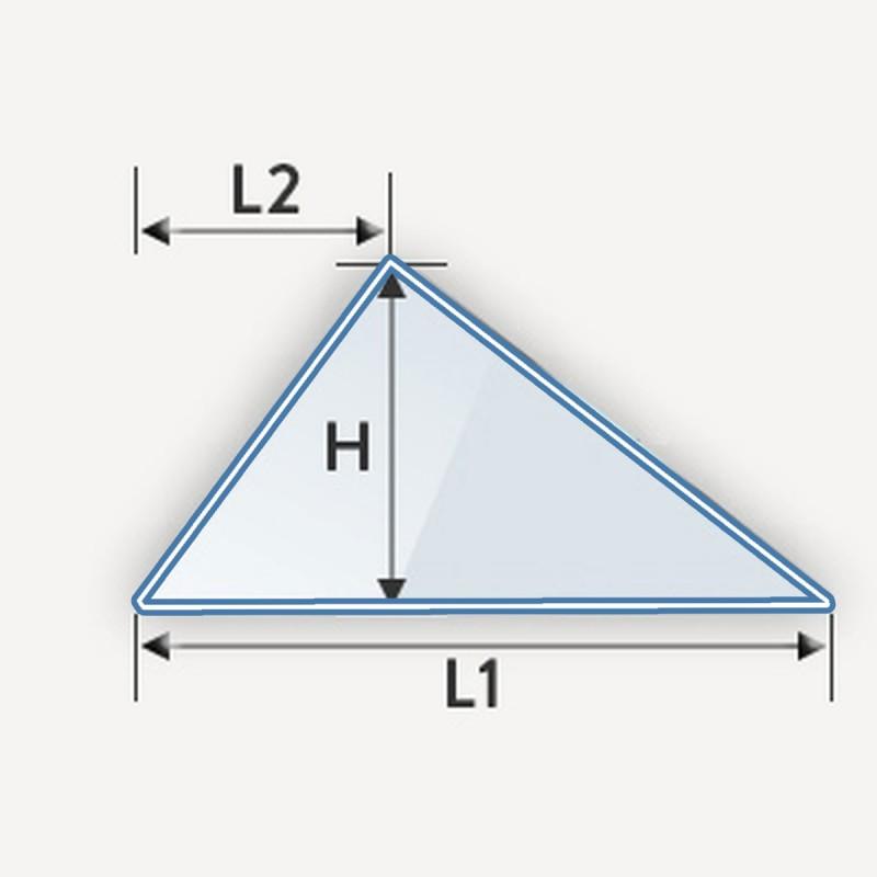 verre feuilleté en forme de triangle