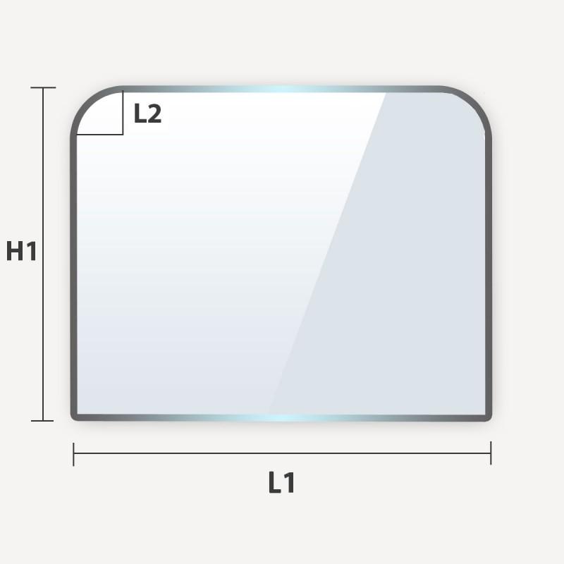 plaque de sol en verre trempé sur mesure avec 2 angles arrondis