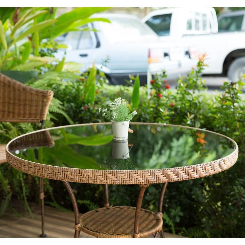 Dessus en verre trempé pour table de jardin ronde type hesperide