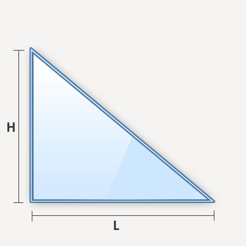 verre feuilleté en forme de triangle rectangle